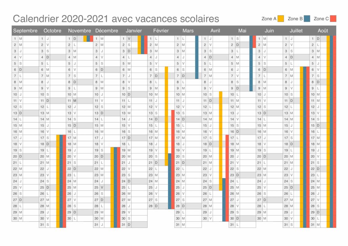 Calendrier vacances 2020 2022